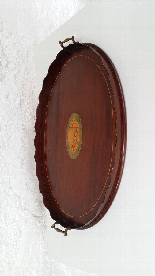 Antique  Oval Mahogany Drinks Tray