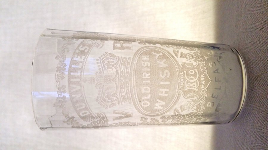 Antique Acid Etched Victorian Irish whisky Tumbler/Glass