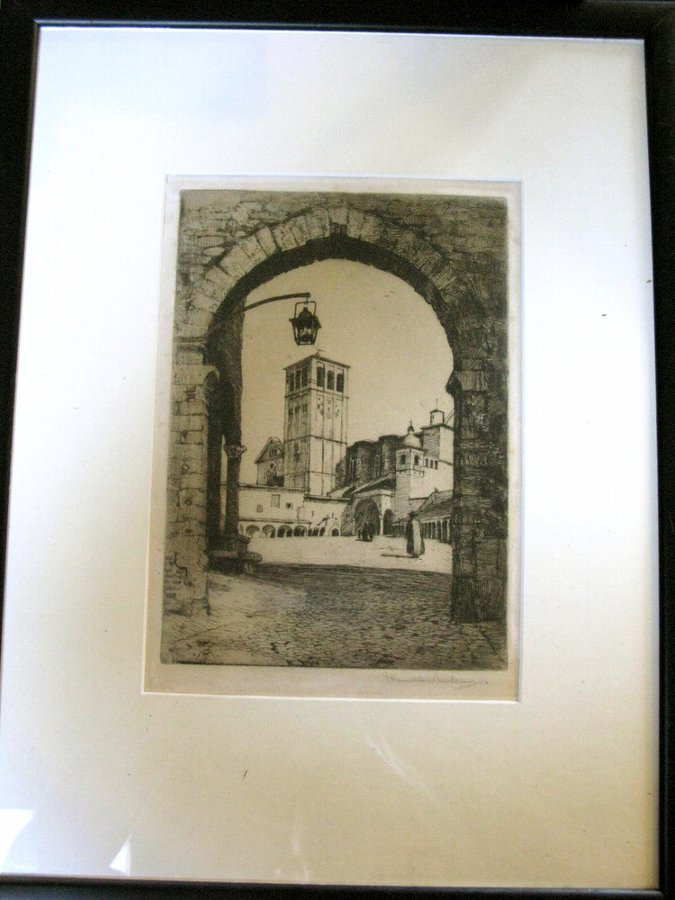 Antique Etching St Francis of Assisi