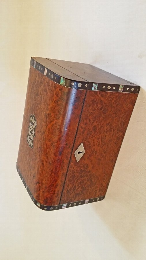 Antique Burr Walnut Tea Caddy