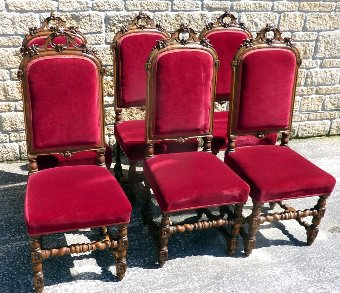 Antique Set of Six Victorian Carved Oak Dining Chairs