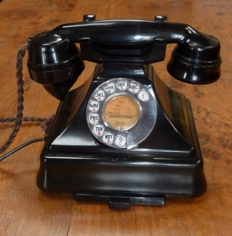 1947 Black 232 Bakelite Telephone With Drawer, Converted