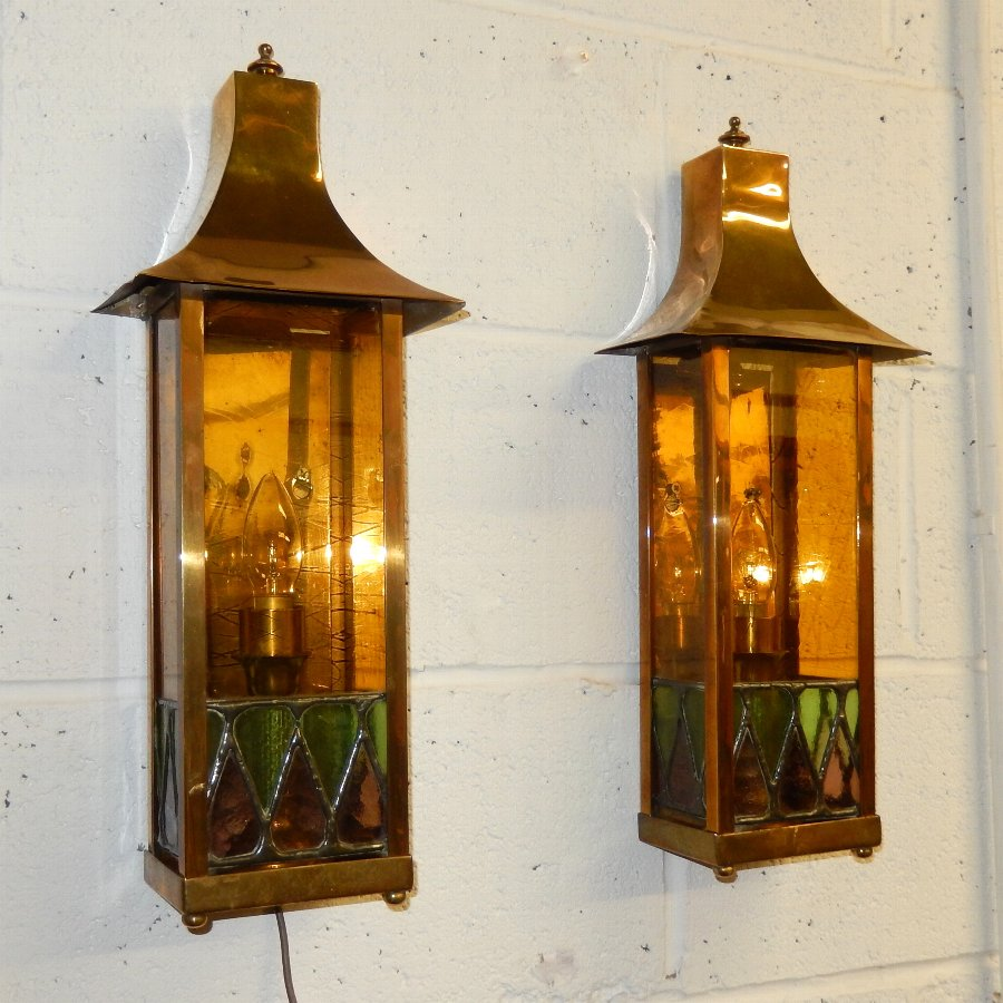 Pair of Solid Brass Art Nouveau Wall Sconces
