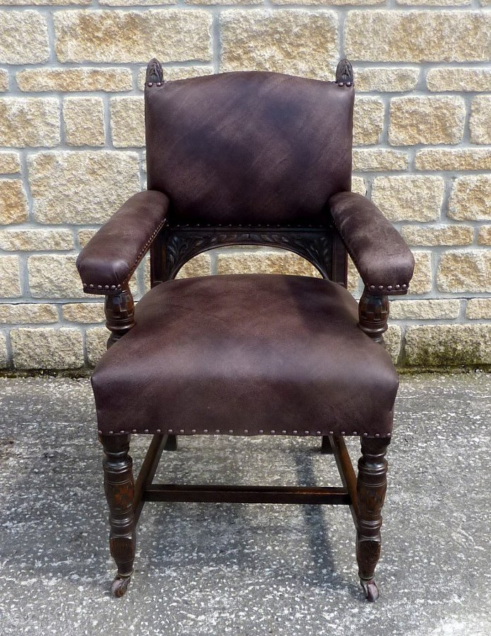 Victorian Carved Oak and Leather Armchair