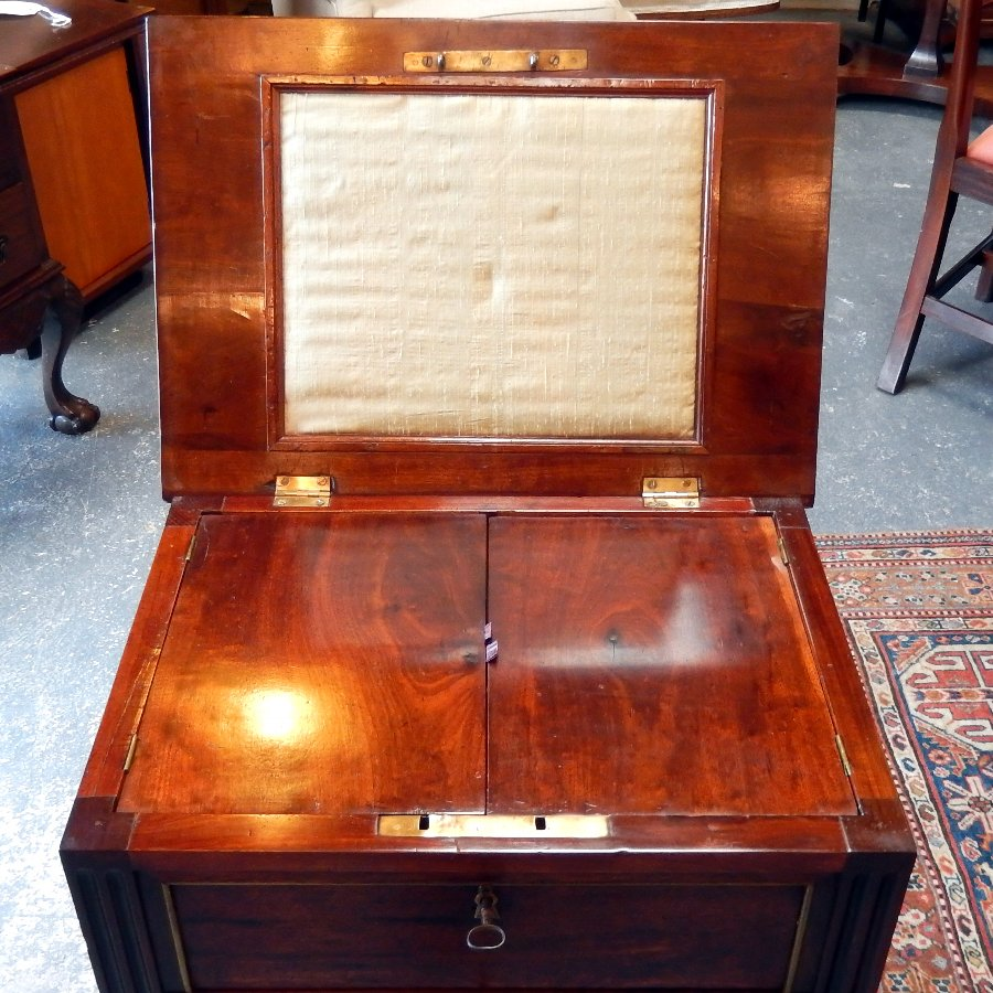Antique Mahogany Sewing Table With Brass Trim, circa 1820