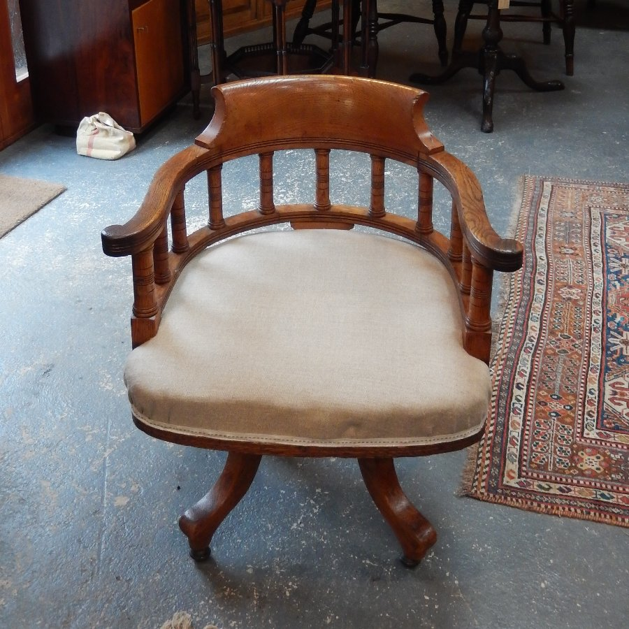 Antique Swivel Captains Chair by Blythe of London, Circa 1890