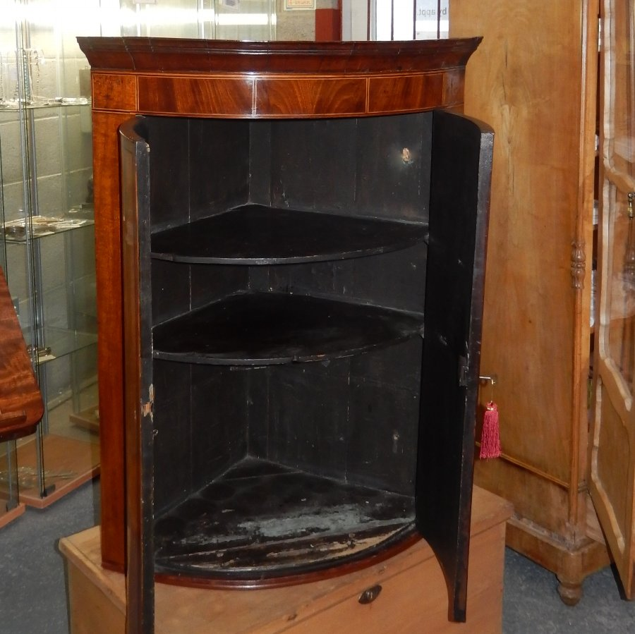 Antique Georgian Bow Front Hanging Corner Cupboard