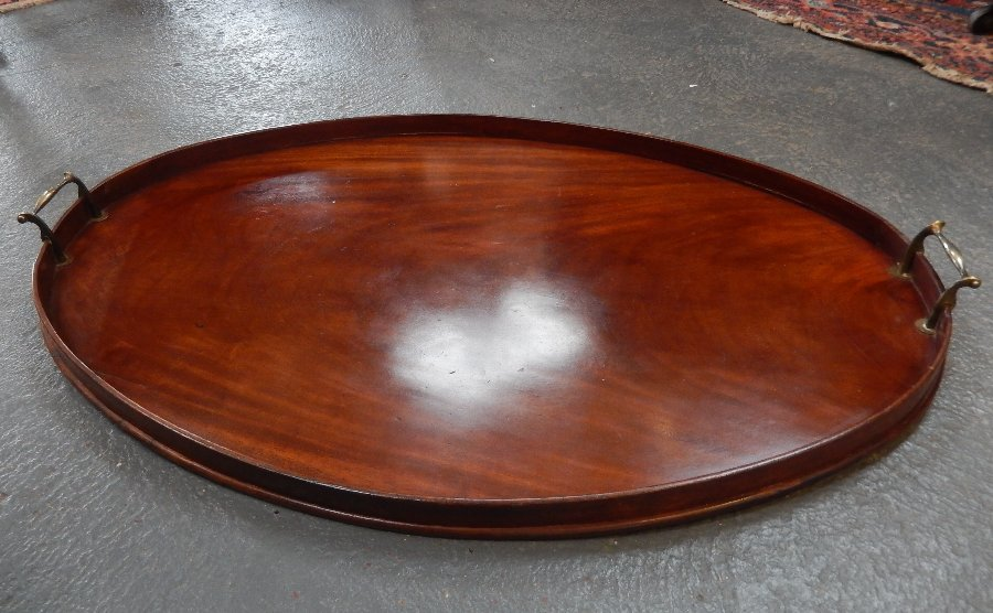Georgian Mahogany Oval Tray with Brass Handles