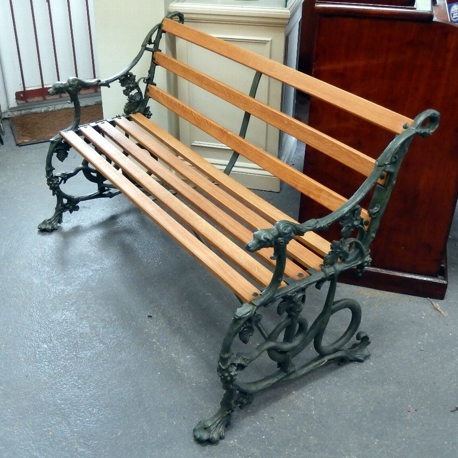 Antique Coalbrookdale Serpent & Grape cast Iron Bench