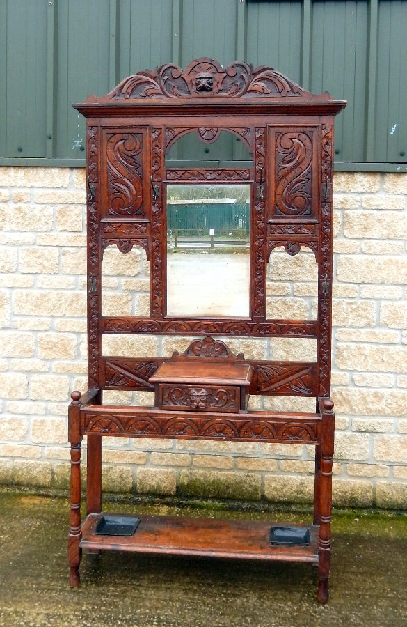 Victorian Green Man Oak Hall Stand