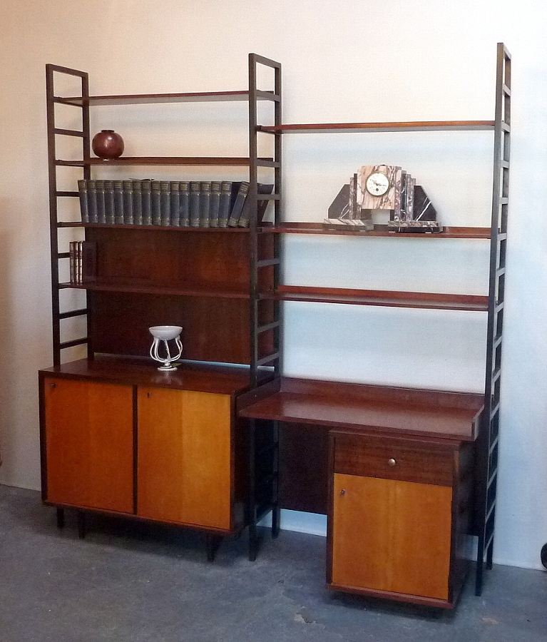 Antique 1960's Double Width Teak Wall Unit, with Desk and Cupboards