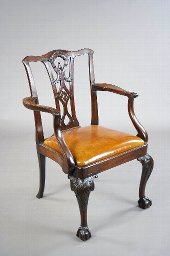Antique Georgian Mahogany Desk Chair Leather Squab