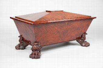 Antique Exceptional Regency Mahogany Wine Cooler / Cellaret