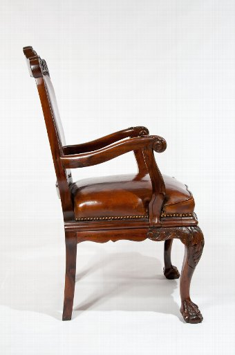 Antique 19th Century Walnut Carved Leather Armchair