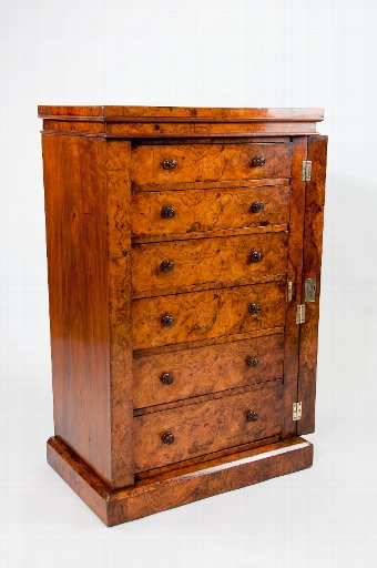 Antique Exceptional Antique Burr Walnut Wellington Chest