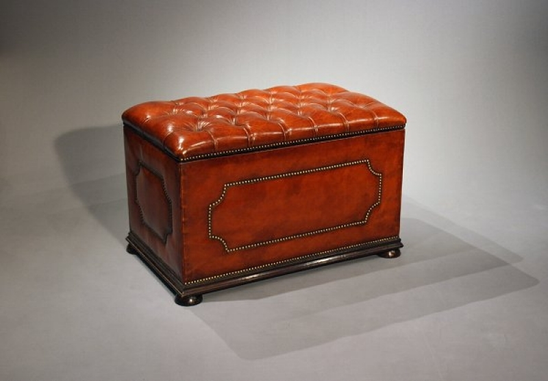 Antique Antique Leather Upholstered Ottoman