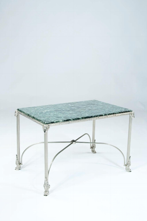A 1920's Nickel Plated Marble Table