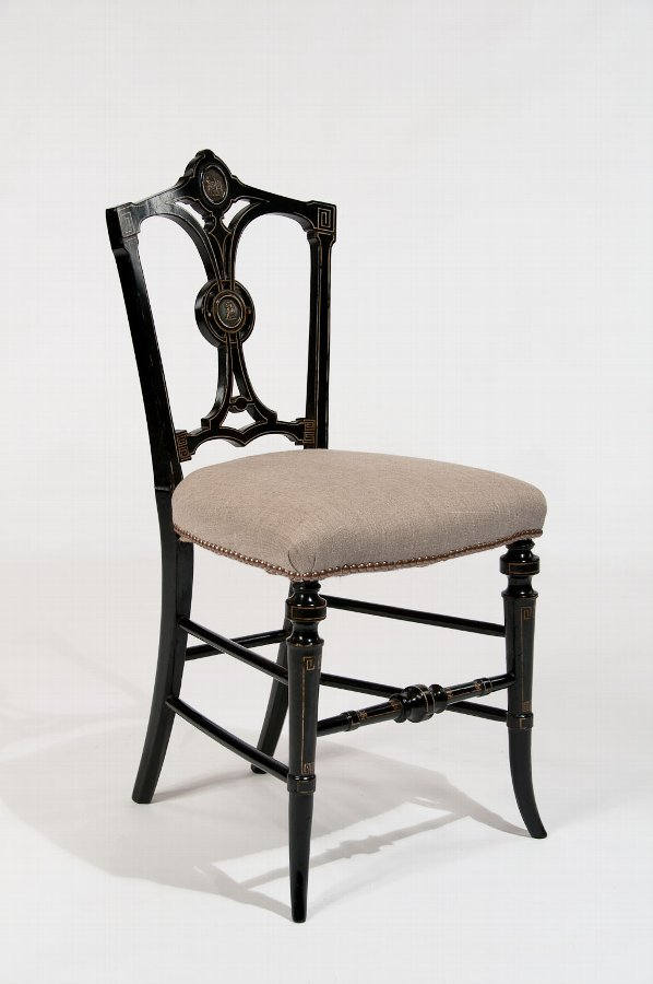 Fine Ebonised and Gilt Regency Antique Side Chair
