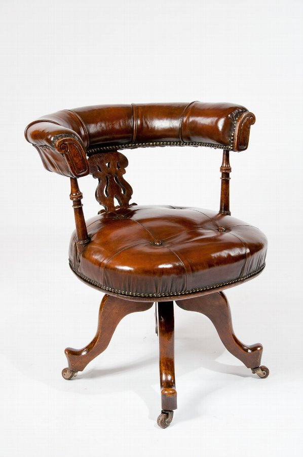Victorian Leather Upholstered Desk Chair