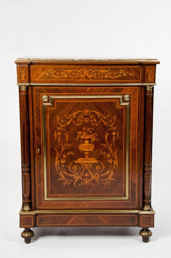 Antique 19th Century French Inlaid Pier Cabinet