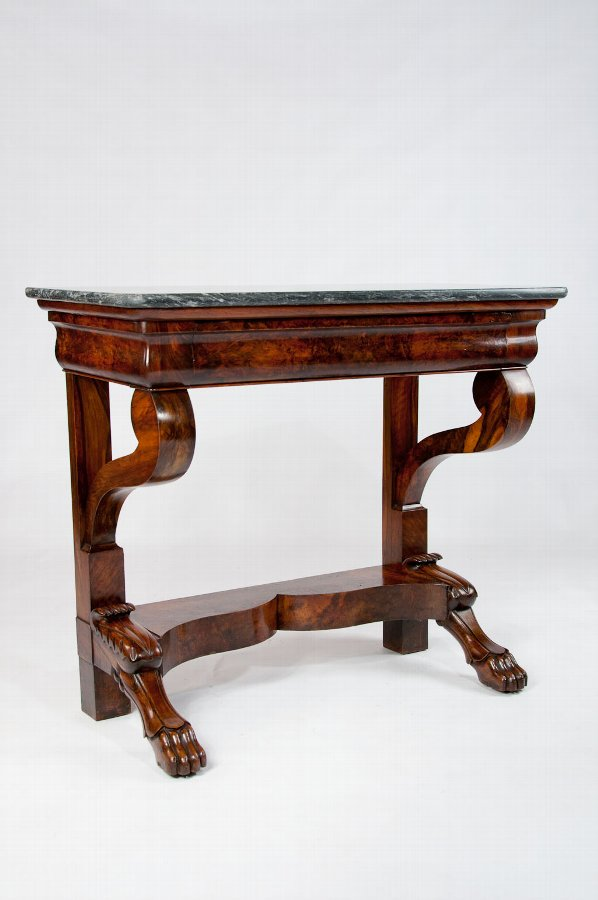 Antique French Burr Walnut Marble Console