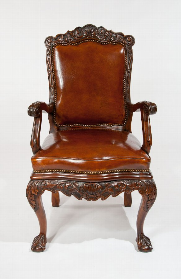 Antique 19th Century Walnut Carved Leather Armchair ...