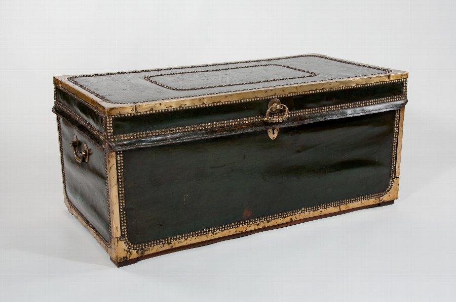 Antique Early 19th Century Leather Camphourwood Trunk