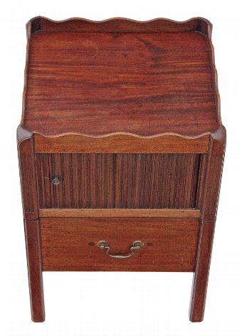 Antique Georgian mahogany bedside cupboard table cabinet commode 3964