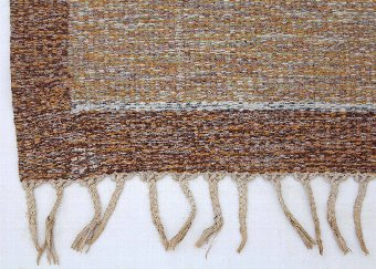 Antique Swedish Rollakan hand woven wool rug signed IS ~ 10' x 6'6