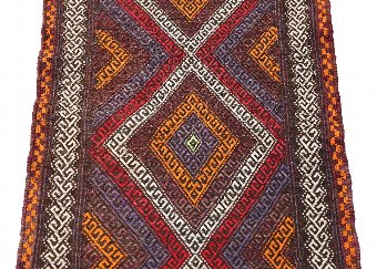 Antique Antique Persian Kilim hand woven wool rug runner ~9' x 2' 4192