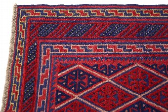 Antique Antique small tribal Gazak hand woven wool rug red ~4' x 4' 4193
