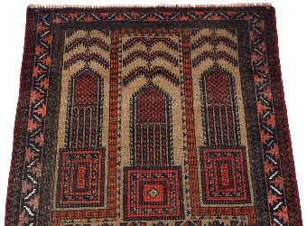 Antique Antique quality Persian hand woven wool rug cream / terracotta ~5' x 3' 4215