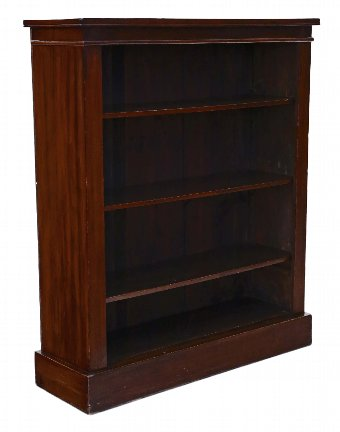 Antique Victorian C1880-1900 mahogany open bookcase adjustable shelves 4168