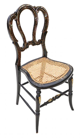 Antique Victorian C1890 mother of pearl cane inlaid bedroom chair 4273a