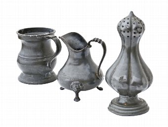 Antique 19th century pewter salt cellar, milk jug, jug 4322g