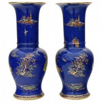 Antique Pair of Art Deco Carlton Ware vases Chinoiserie Rouleau 4349