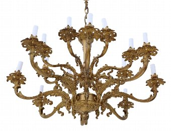 Antique 16 lamp ormolu brass chandelier heavy 4371