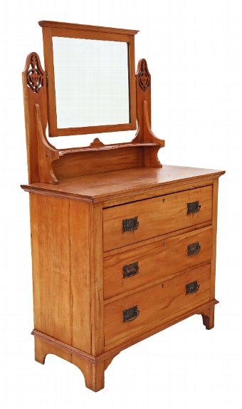 Antique C1910 satinwood dressing table chest of drawers Art Nouveau 4484