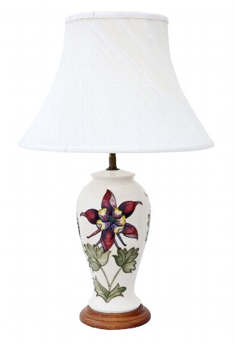 Antique Moorcroft ceramic table lamp with shade 4503