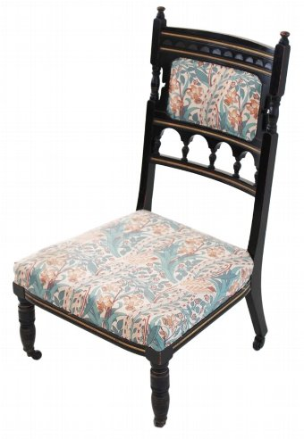 Antique 19C Victorian Aesthetic ebonised nursing parlour chair 2479