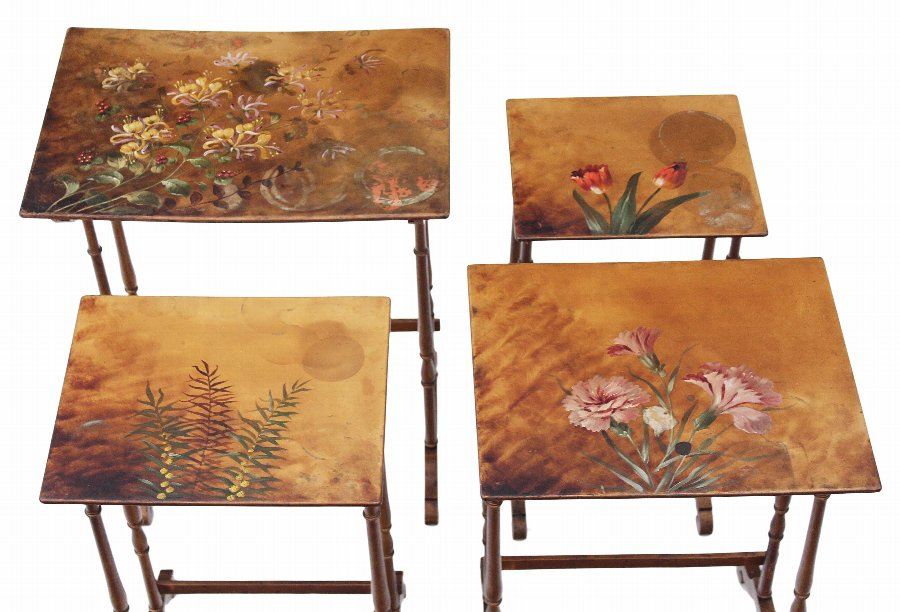 Antique Victorian nest of 4 decorated papier mache side or occasional tables 4008