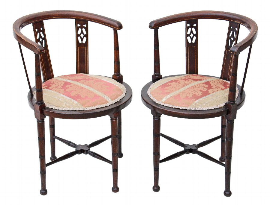 Antique Pair of Edwardian mahogany corner arm chairs bedroom tub side hall 4134b