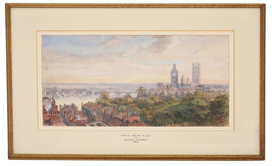 Antique 1866 Victorian watercolour painting Thomas Howells Westminster London 4199