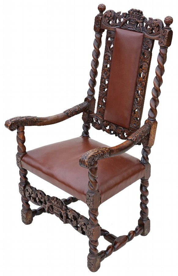 Antique 18C Georgian Gothic carved walnut armchair throne chair leather 4275