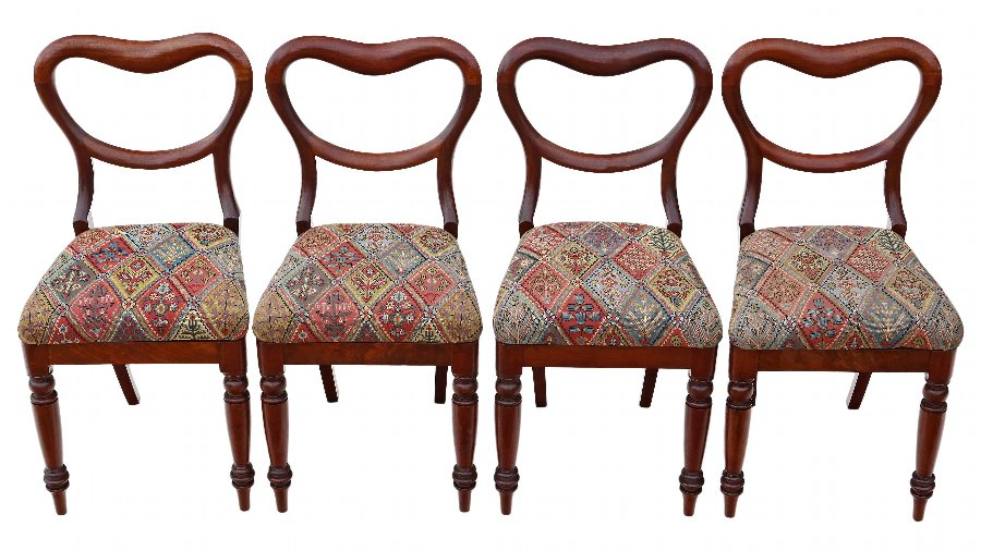Antique Set of 4 mahogany Victorian dining chairs balloon back 4396