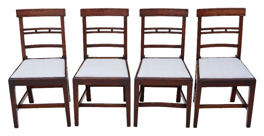 Set of 4 elm 19th Century East Anglian dining chairs 4401
