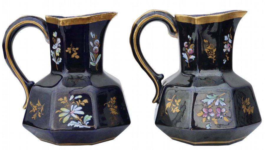 Pair of blue gilded and decorated ceramic jugs 4451a