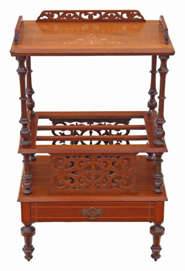 Victorian inlaid walnut Canterbury magazine rack side table  3721