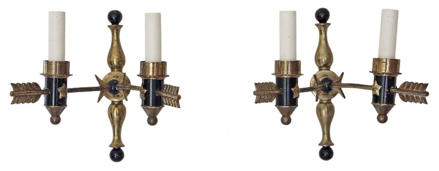 Antique Pair of 2 lamp ormolu bronze brass arrow wall lights FREE DELIVERY 3633b