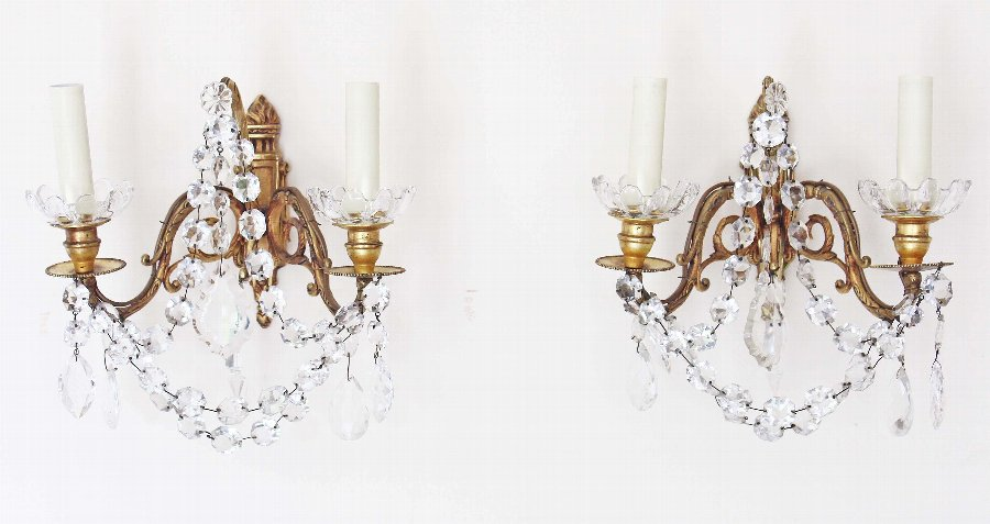 Antique Pair of 2 lamp ormolu brass bronze crystal wall lights FREE DELIVERY 3634